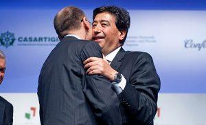 Giacomo Basso ed Enrico Letta durante un incontro di Rete Imprese Italia